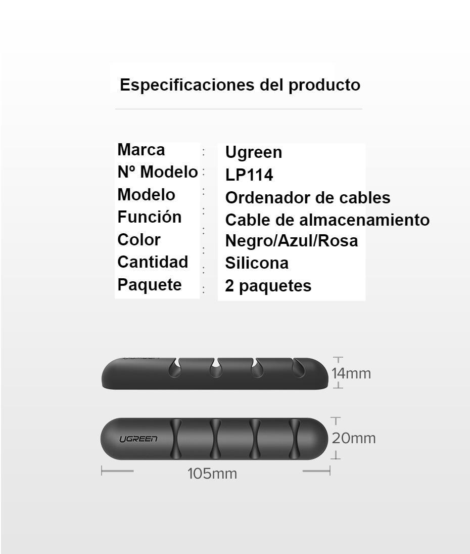 Organizador de cables Ugreen, enrollador de cable USB de silicona, clips flexibles para gestión de cables para ratón, auriculares, soporte de cable para auriculares