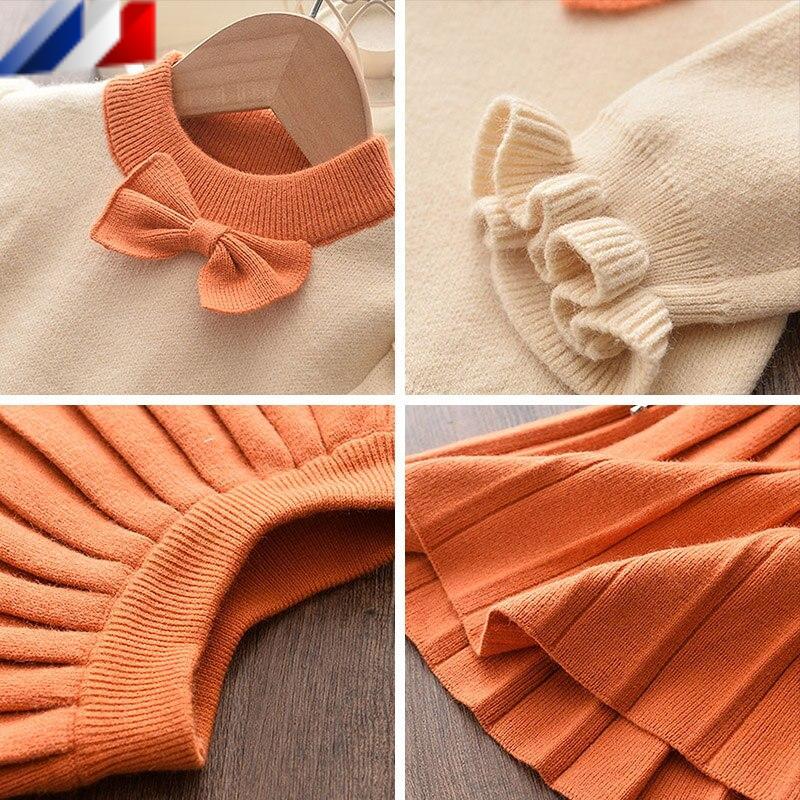 Conjunto de falda y suéter de manga larga para niñas
