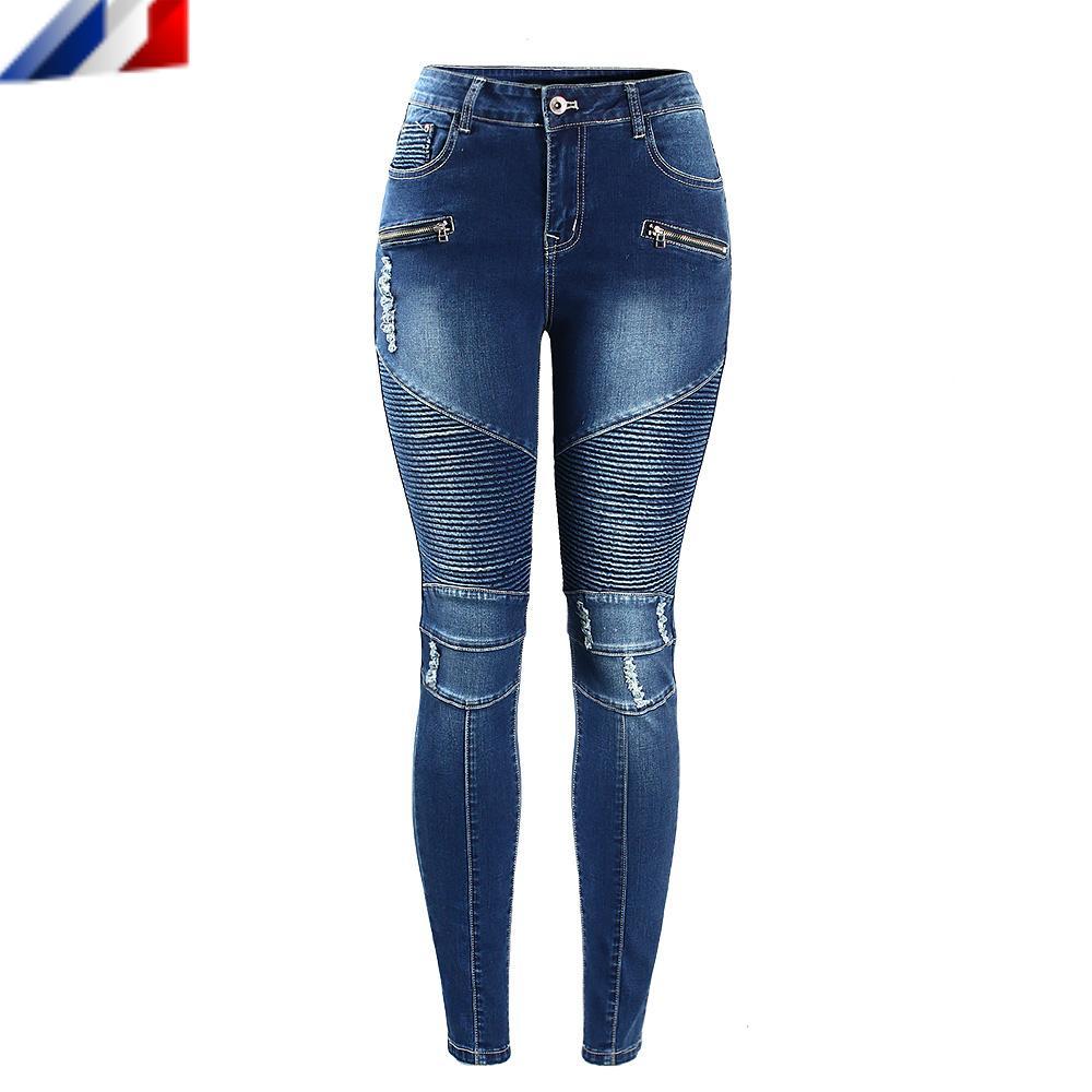 Jeans ajustados de cintura media para mujer
